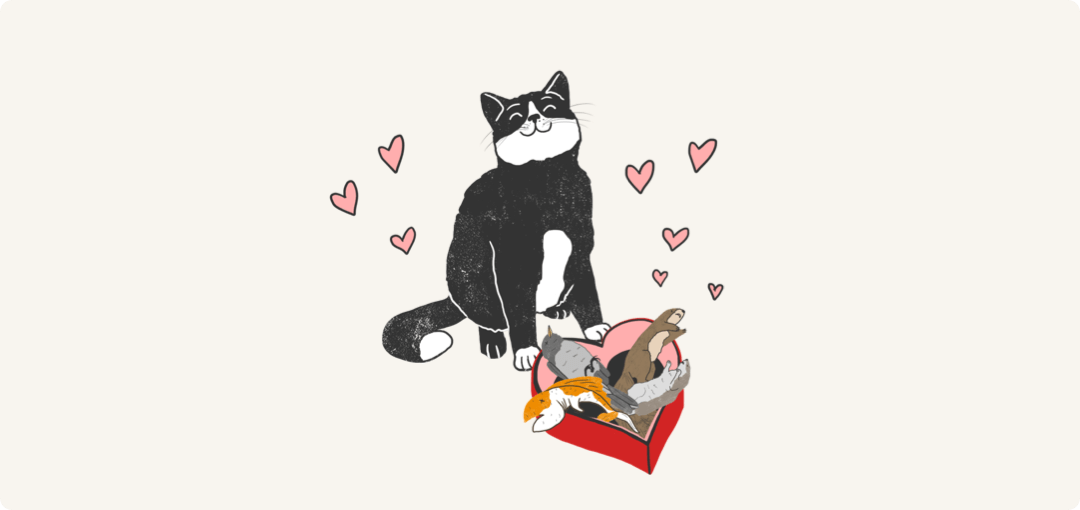 Illustrated cat presenting gifts