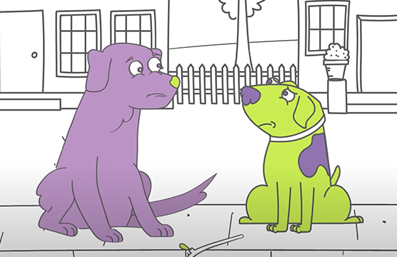 Purple dog and Ralph sitting on the sidewalk.