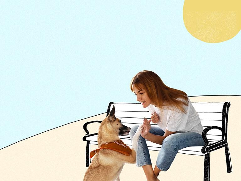 Woman high-fiving dog