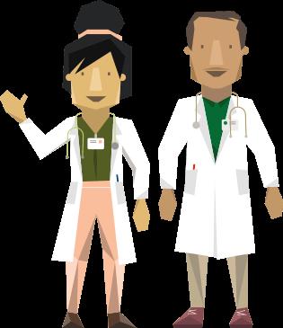 veterinarians in white coats
