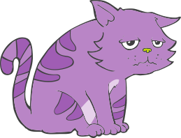 sad purple cat graphic